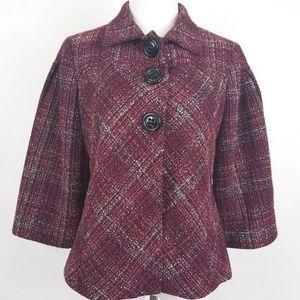 Emma James Size 12 Tweed Career Maroon 3/4 Sleeve